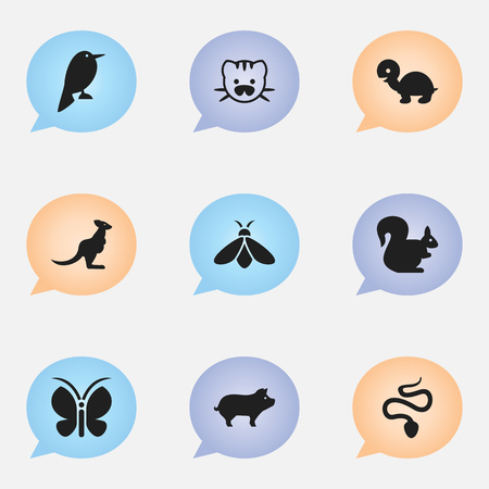Set of 9 editable zoo icons. Includes symbols such as butterfly, kangaroo, turtle and more. Can be used for web, mobile, UI and infographic design.