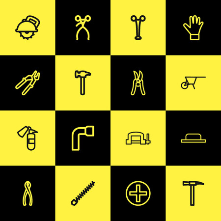 Set of 16 editable equipment icons line style. Includes symbols such as hammer, drill nozzle, rivets and more. Can be used for web, mobile, UI and infographic design. Ilustração