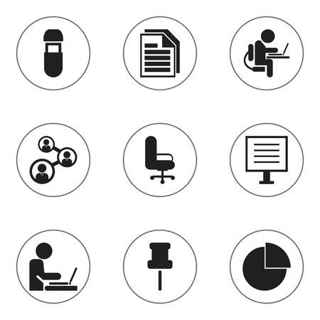 Set of 9 editable office icons. Includes symbols such as flash drive, pointer, office chair and more. Can be used for web, mobile, UI and infographic design. Ilustração