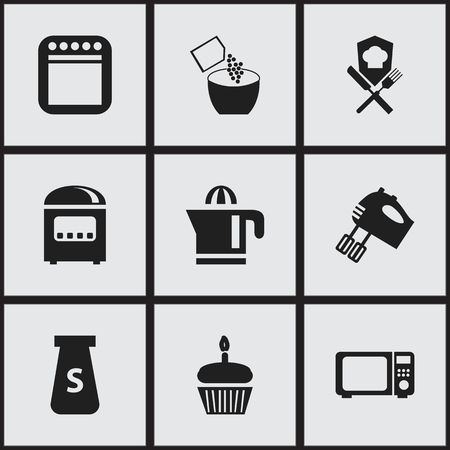 Set of 9 editable cook icons. Includes symbols such as squeezer, microwave, hand mixer. Can be used for web, mobile, UI and infographic design.