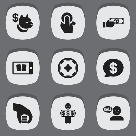 Set of 9 editable casino icons. Includes symbols such as poker money, bubble, smartphone gaming and more. Can be used for web, mobile, UI and infographic design.