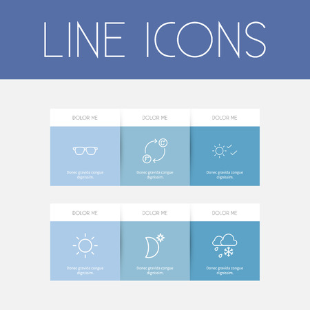 Set of 6 editable weather icons line style. Includes symbols such as solar, sunglasses, sky night and more. Can be used for web, mobile, UI and infographic design.