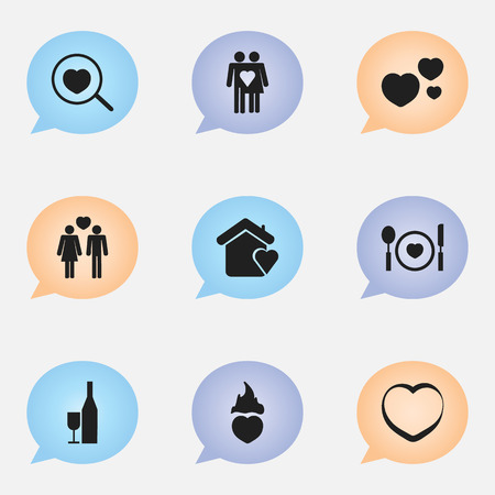 Set of 9 editable amour icons. Includes symbols such as plate, champagne, beau and more. Can be used for web, mobile, UI and infographic design.