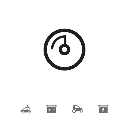 Set of 5 editable car icons. Includes symbols such as odometer, battery, accumulator and more. Can be used for web, mobile, UI and infographic design.