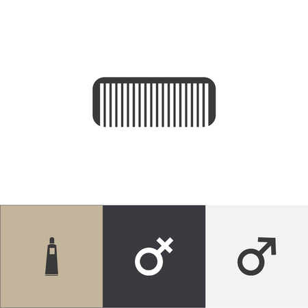 Set of 4 editable hairstylist icons. Includes symbols such as bottle, male symbol, woman sign and more. Can be used for web, mobile, UI and infographic design. Illustration