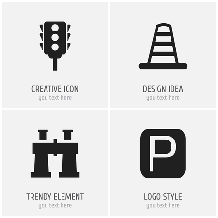 Set of 4 editable navigation icons. Includes symbols such as binoculars, traffic light, road sign and more. Can be used for web, mobile, UI and infographic design.