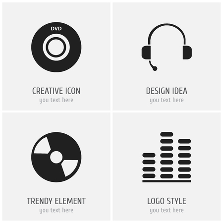 Set of 4 editable mp3 icons. Includes symbols such as dvd, cd, studio device and more. Can be used for web, mobile, UI and infographic design. Stock Illustratie