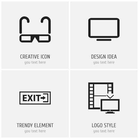 Set of 4 editable cinema icons. Includes symbols such as computer screen, exit, telly and more. Can be used for web, mobile, UI and infographic design.