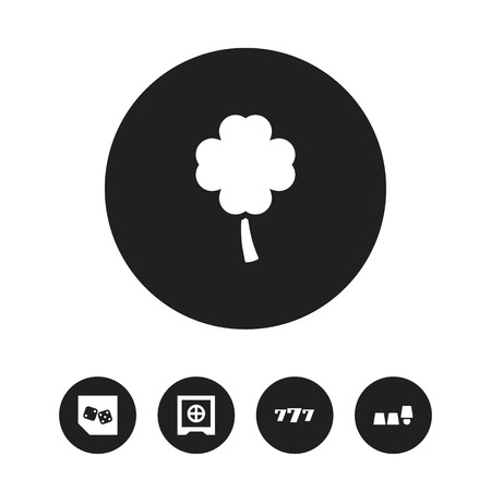 Set of 5 editable excitement icons. Includes symbols such as backgammon, safe, thimbles game and more. Can be used for web, mobile, UI and infographic design.