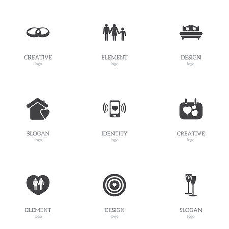Set of 9 editable love icons. Includes symbols such as bed, home, rings and more. Can be used for web, mobile, UI and infographic design. Stock Illustratie