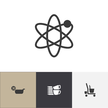 Set of 4 editable cleanup icons. Includes symbols such as 30 degrees, piled tea set, cleaner trolley and more. Can be used for web, mobile, UI and infographic design.