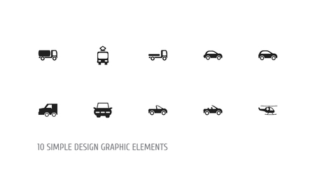 Set of 10 editable transportation icons. Includes symbols such as medical helicopter, freight car, cart and more. Can be used for web, mobile, UI and infographic design.