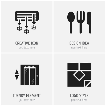 Set of 4 editable hotel icons. Includes symbols such as double bed, air conditioning, silverware and more. Can be used for web, mobile, UI and infographic design. Stock Illustratie