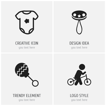 Set of 4 editable child icons. Includes symbols such as beanbag, bodysuit, wheels and more. Can be used for web, mobile, UI and infographic design.