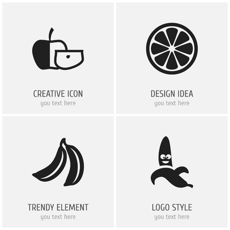Set of 4 editable kitchenware icons. Includes symbols such as banana, sliced citrus, funny banana and more. Can be used for web, mobile, UI and infographic design. Stock Illustratie