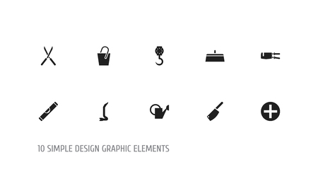 Set of 10 editable equipment icons. Includes symbols such as spanner, rivets, secateurs and more. Can be used for web, mobile, UI and infographic design.