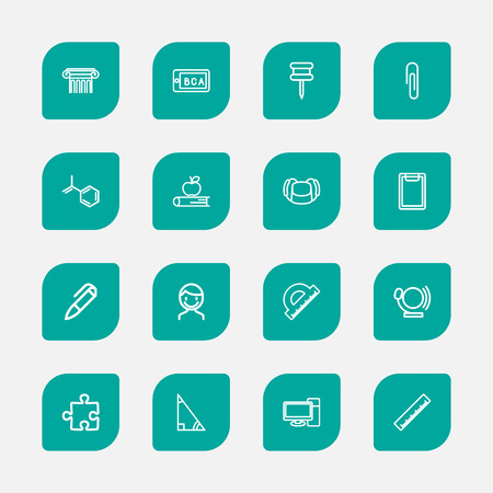 Set of 16 editable science icons line style. Includes symbols such as pencil, jigsaw, pin and more. Can be used for web, mobile, UI and infographic design. Ilustração