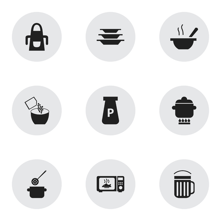 Set of 9 editable kitchen icons. Includes symbols such as sprinkle pepper, apron, soup and more. Can be used for web, mobile, UI and infographic design.