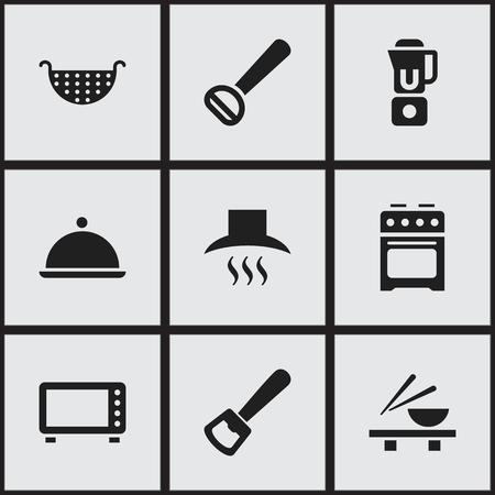 Set of 9 editable cooking icons. Includes symbols such as cooker, colander, microwave. Can be used for web, mobile, UI and infographic design. Stock Illustratie