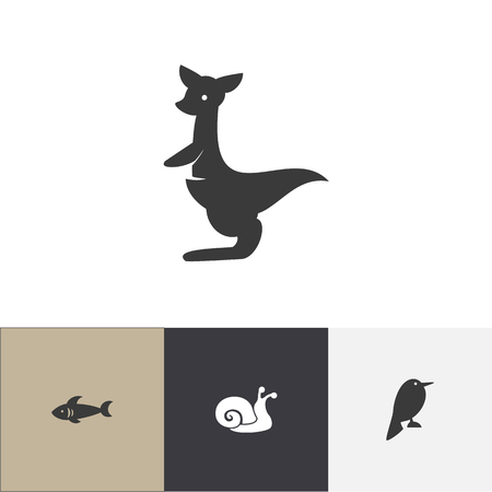 Set of 4 editable animal icons. Includes symbols such as snail, nightingale, sea predator and more. Can be used for web, mobile, UI and infographic design.