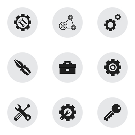 Set of 9 editable toolkit icons. Includes symbols such as pliers, key, gear fix and more. Can be used for web, mobile, UI and infographic design. Ilustração