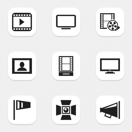 Set of 9 editable filming icons. Includes symbols such as record, computer screen, display and more. Can be used for web, mobile, UI and infographic design.