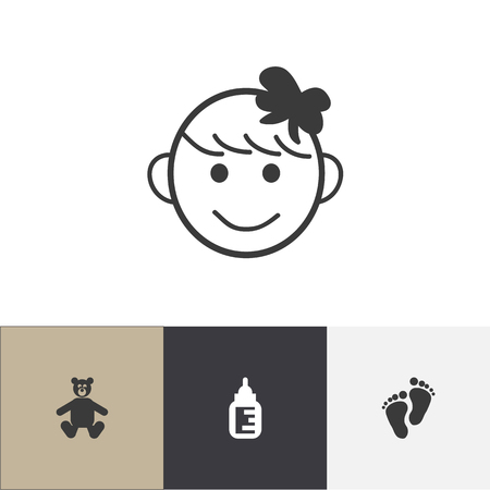 Set of 4 editable child icons. Includes symbols such as foot step, feeder, happy girl and more. Can be used for web, mobile, UI and infographic design. Ilustração