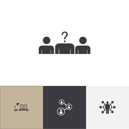 Set of 4 editable business icons. Includes symbols such as office desk, vacancy, skills and more. Can be used for web, mobile, UI and infographic design. 스톡 콘텐츠