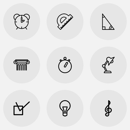 Set of 9 editable teach icons line style. Includes symbols such as column, quaver, straightedge and more. Can be used for web, mobile, UI and infographic design.