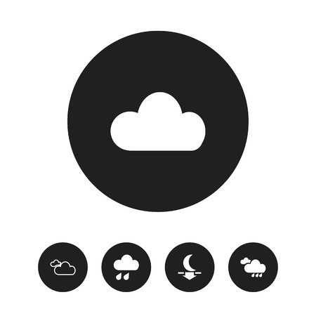 Set of 5 editable air icons. Includes symbols such as moon down, overcast, fog and more. Can be used for web, mobile, UI and infographic design.
