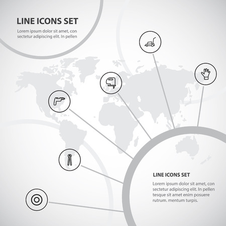 Set of 6 editable equipment icons line style. Includes symbols such as cutter machine, instrument, gauntlet and more. Can be used for web, mobile, UI and infographic design.