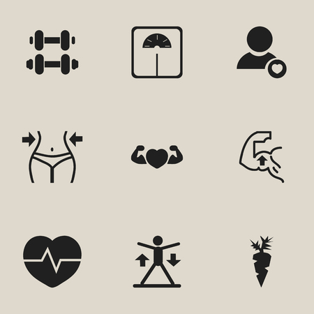 Set of 9 editable fitness icons. Includes symbols such as muscle heart, pulse, weight lose and more. Can be used for web, mobile, UI and infographic design.