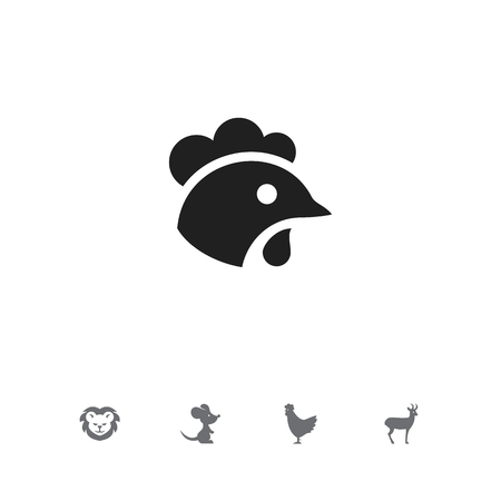 Set of 5 editable animal icons. Includes symbols such as rat, rooster, cock and more. Can be used for web, mobile, UI and infographic design. Ilustração