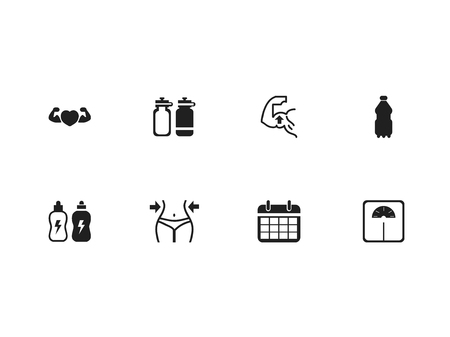 Set of 8 editable sport icons. Includes symbols such as calendar, muscle heart, energy drink and more. Can be used for web, mobile, UI and infographic design.