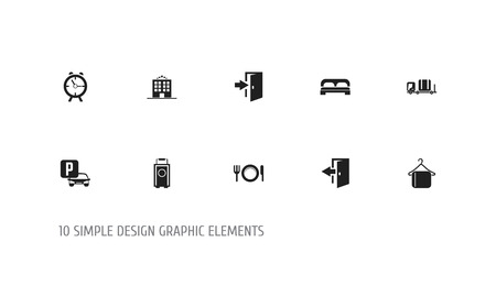 Set of 10 editable plaza icons. Includes symbols such as baggage, restaurant, clock and more. Can be used for web, mobile, UI and infographic design. Ilustração