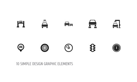 Set of 10 editable transport icons. Includes symbols such as overtaking, traffic light, location and more. Can be used for web, mobile, UI and infographic design.