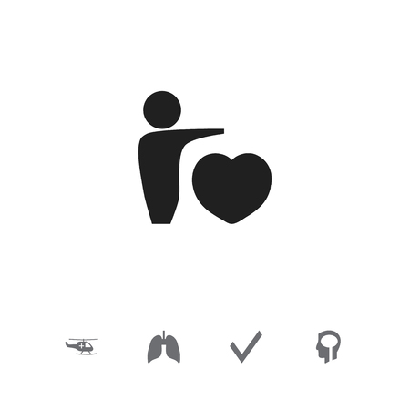 Set of 5 editable hospital icons. Includes symbols such as helicopter, brain, man with heart and more. Can be used for web, mobile, UI and infographic design.