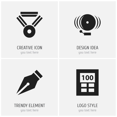 Set of 4 editable teach icons. Includes symbols such as alarm bell, math adder, reward and more. Can be used for web, mobile, UI and infographic design.