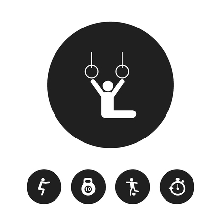 Set of 5 editable lifestyle icons. Includes symbols such as soccer, timer, gymnast and more. Can be used for web, mobile, UI and infographic design.