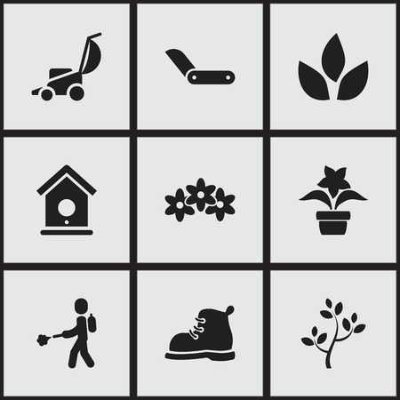Set of 9 editable agriculture icons. Includes symbols such as tea, boot, fertilize and more. Can be used for web, mobile, UI and infographic design. Stock Illustratie