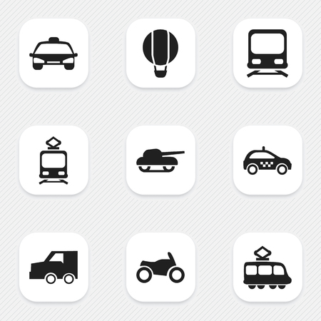 Set of 9 editable transportation icons. Includes symbols such as taxi, tank, metro and more. Can be used for web, mobile, UI and infographic design.