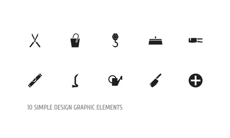 Set of 10 editable tools icons. Includes symbols such as spanner, rivets, secateurs and more. Can be used for web, mobile, UI and infographic design.