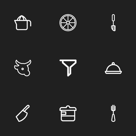 Set of 9 editable cooking icons line style. Includes symbols such as casserole, veal, squeezer and more. Can be used for web, mobile, UI and infographic design. Stock Illustratie