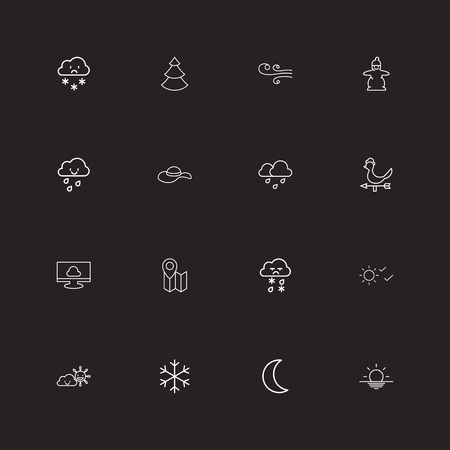 Set of 16 editable climate icons line style. Includes symbols such as snowflake, drizzle, rooster wind vane and more. Can be used for web, mobile, UI and infographic design. Ilustração