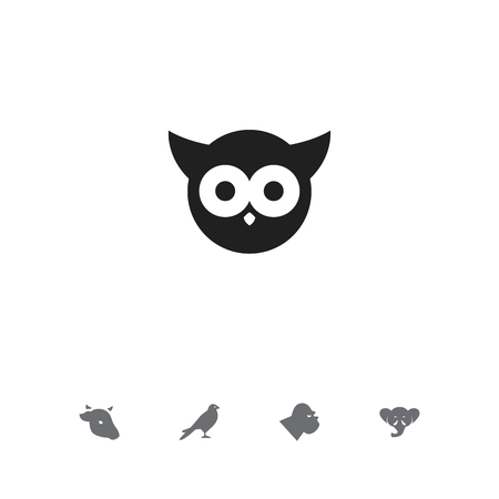 Set of 5 editable zoology icons. Includes symbols such as owl, cow, gorilla and more. Can be used for web, mobile, UI and infographic design.