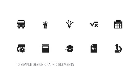 Set of 10 editable education icons. Includes symbols such as autobus, mathematics, knowledge and more. Can be used for web, mobile, UI and infographic design.