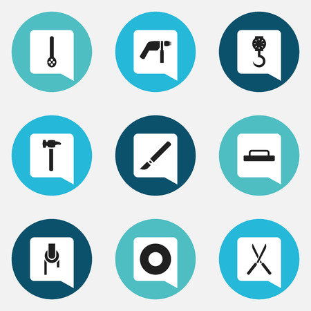 Set of 9 editable apparatus icons. Includes symbols such as float, screwdriver, weighing machine and more. Can be used for web, mobile, UI and infographic design.
