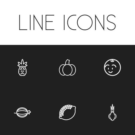 Set of 6 editable cooking icons line style. Includes symbols such as smiling ball, tropical fruit, garlic and more. Can be used for web, mobile, UI and infographic design. Stock Illustratie