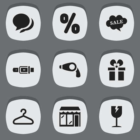 Set of 9 editable trade icons. Includes symbols such as conversation, hanger, broken glass and more. Can be used for web, mobile, UI and infographic design.