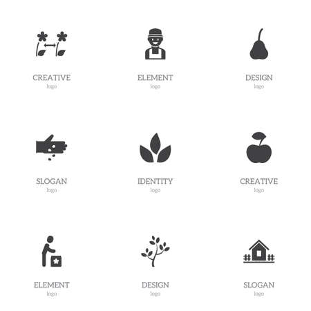 Set of 9 editable agriculture icons. Includes symbols such as tea, apple, garden house and more. Can be used for web, mobile, UI and infographic design.